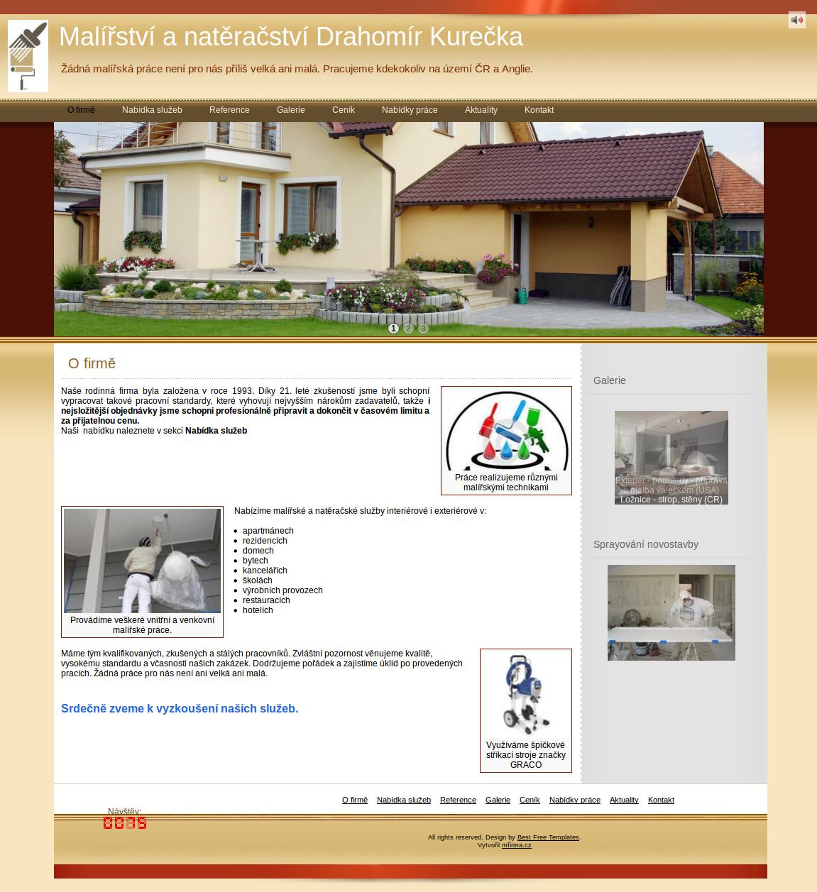 Příklad webové stránky pro renovační služby - Malířství a natěračství Drahomír Kurečka