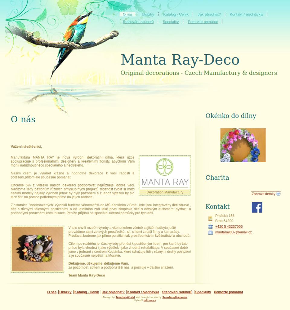 Příklad webové stránky - Manufaktura MANTA RAY