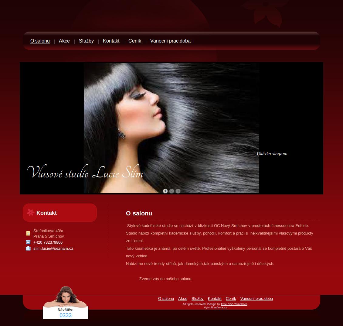 Příklad webové stránky pro vlasové studio - studiolucies.cz
