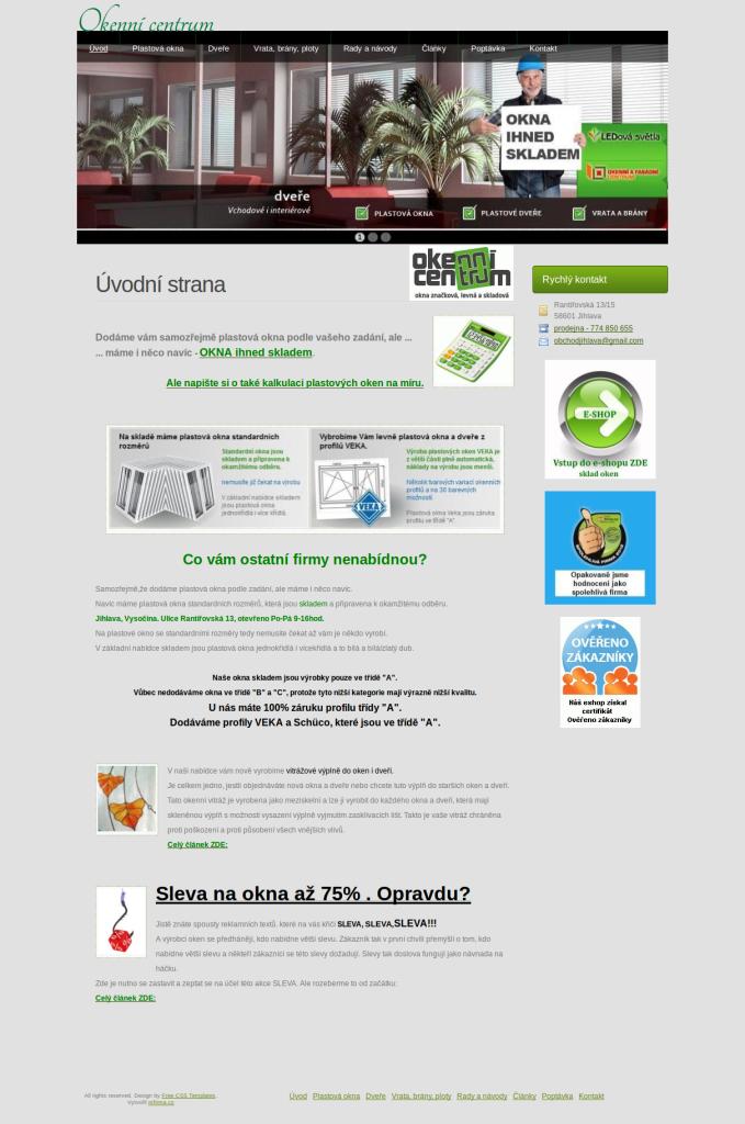Příklad webové stránky pro obchod - Okenní centrum