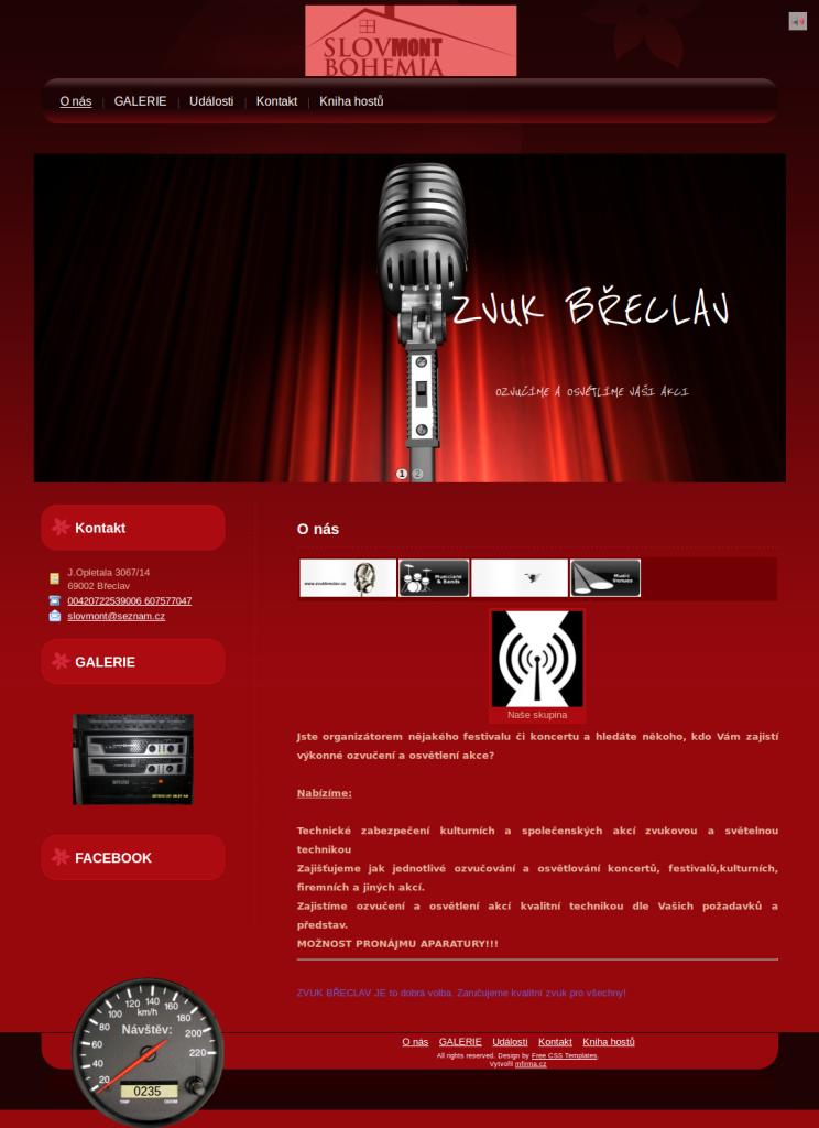 Příklad webové stránky pro ozvučovací firmu - ZVUK BŘECLAV