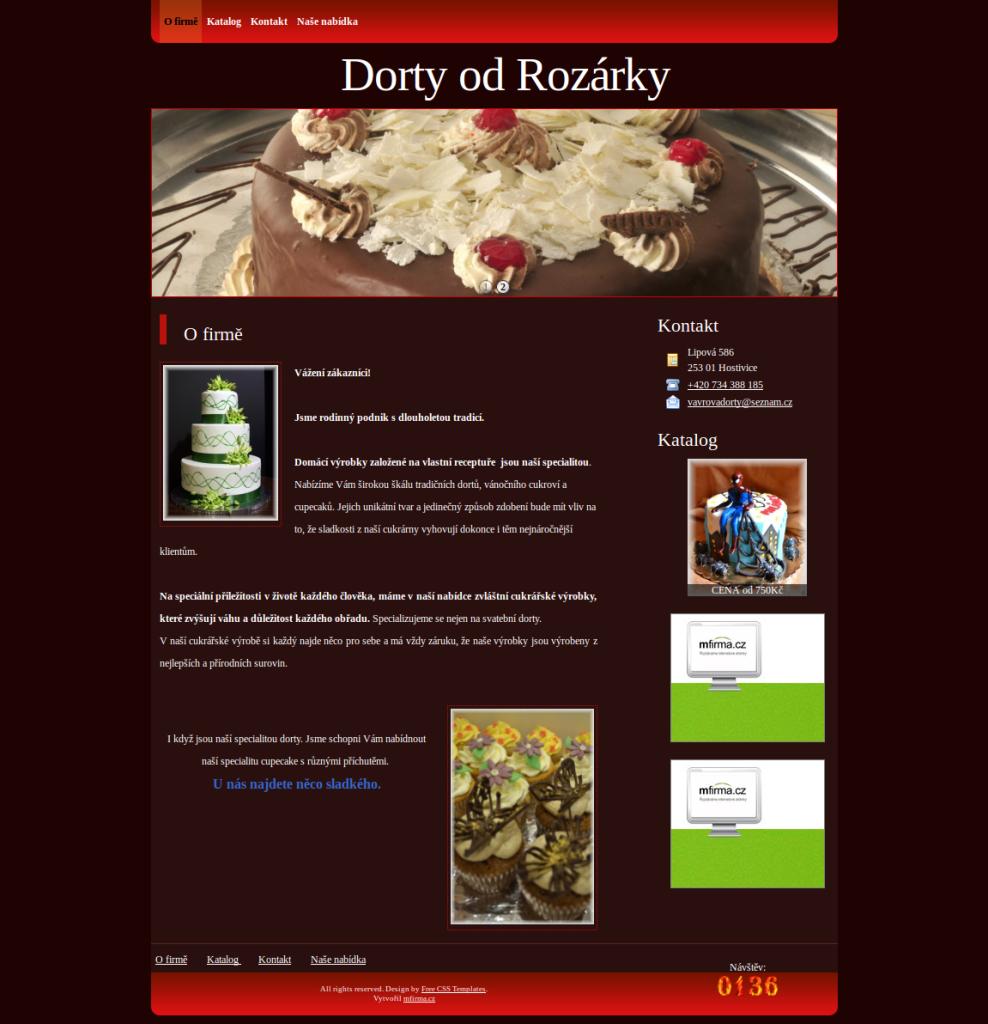 Příklad webové stránky pro cukrárenství - Dorty od Rozárky