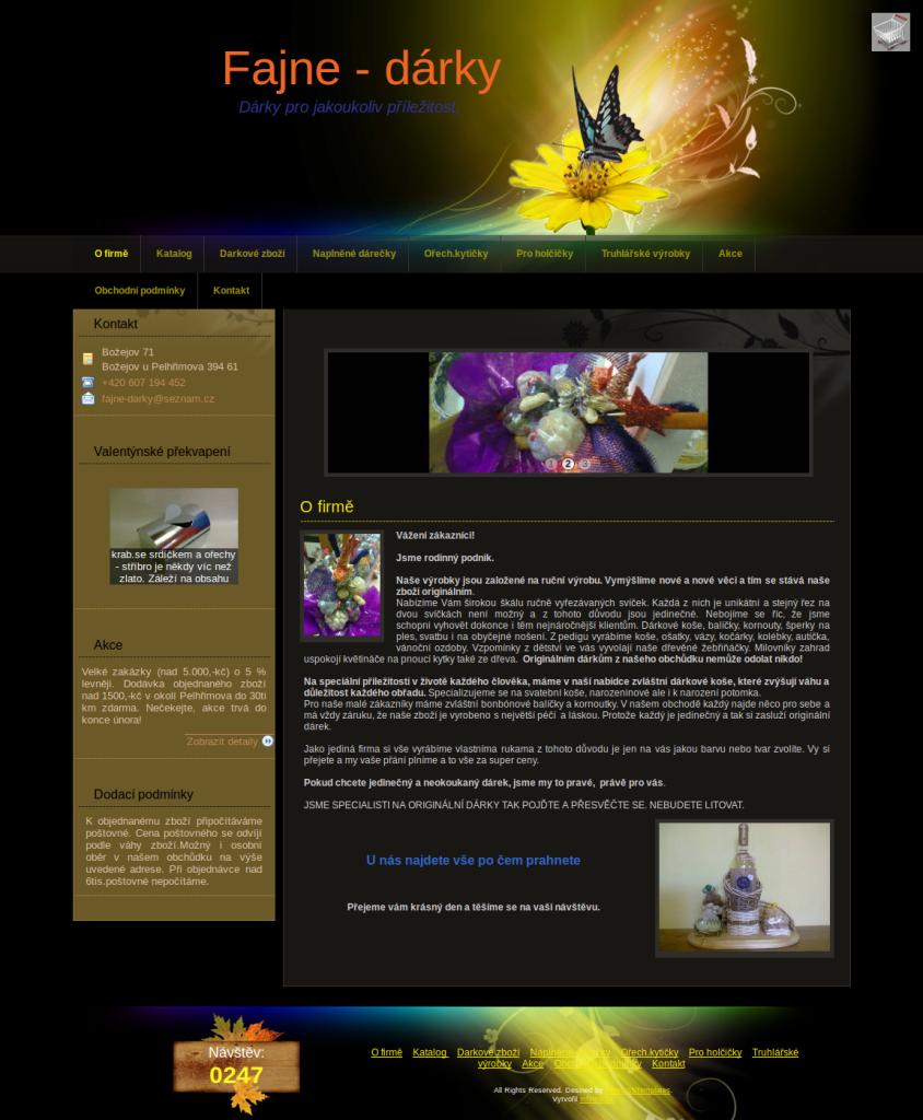 Příklad webové stránky pro obchod s ručně vyrobenými dárky - Fajne-dárky