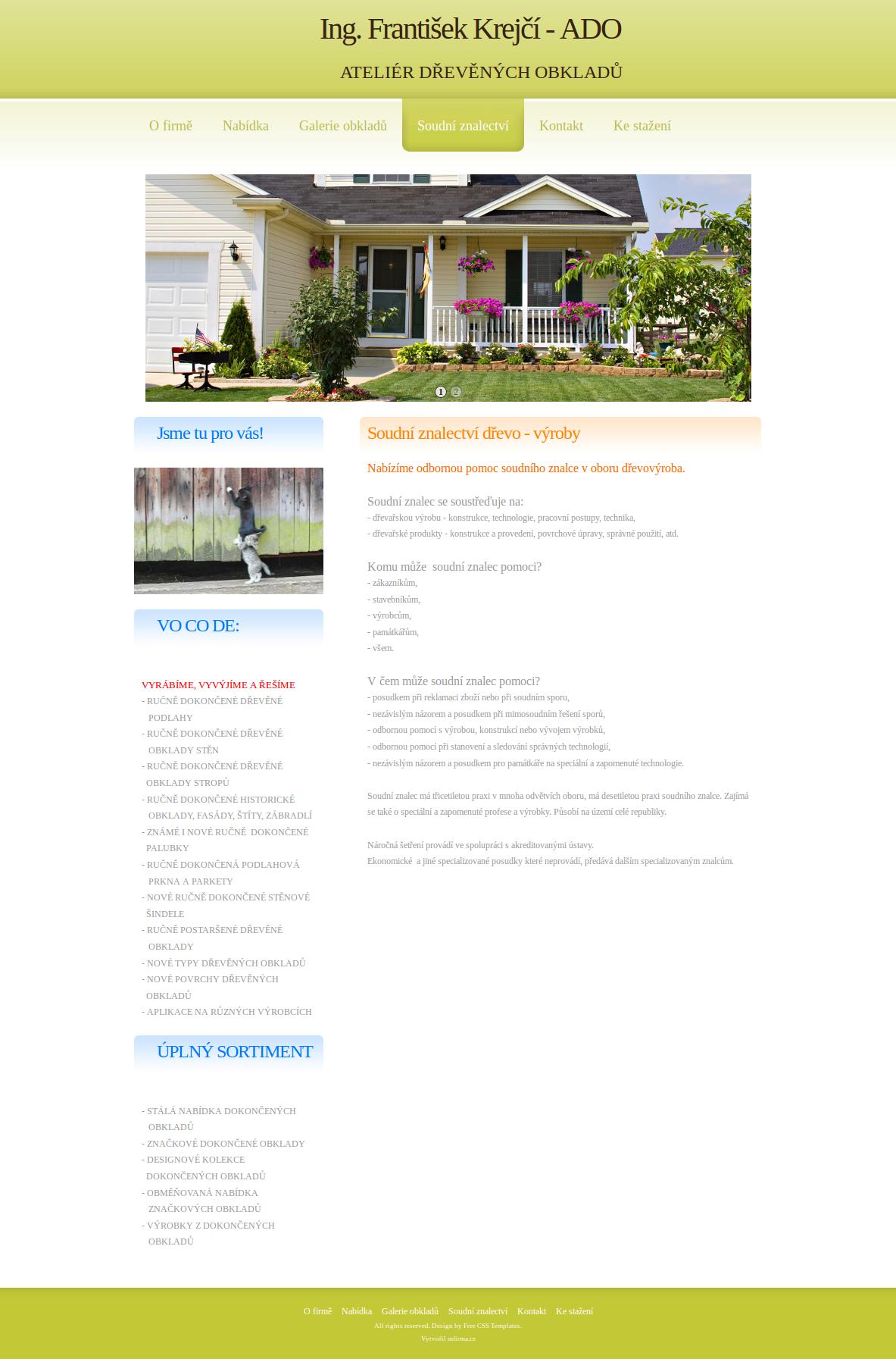 Příklad webové stránky - dřevěné obklady