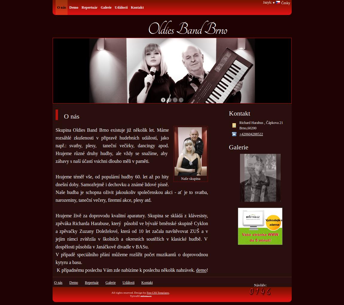 Příklad webové stránky pro hudební skupinu - Oldies Band Brno