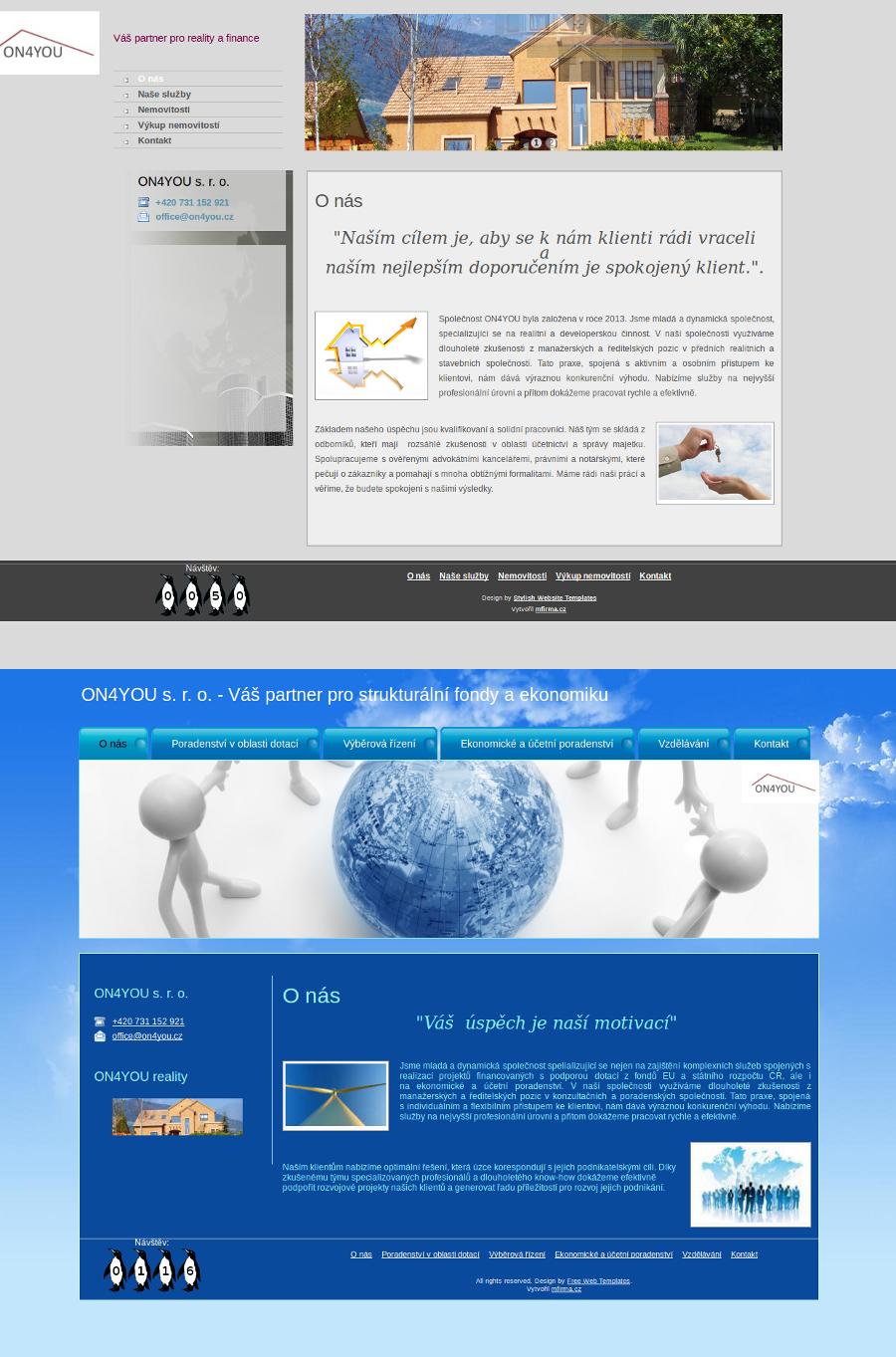Webové šablony - společnost ON4YOU s. r. o.