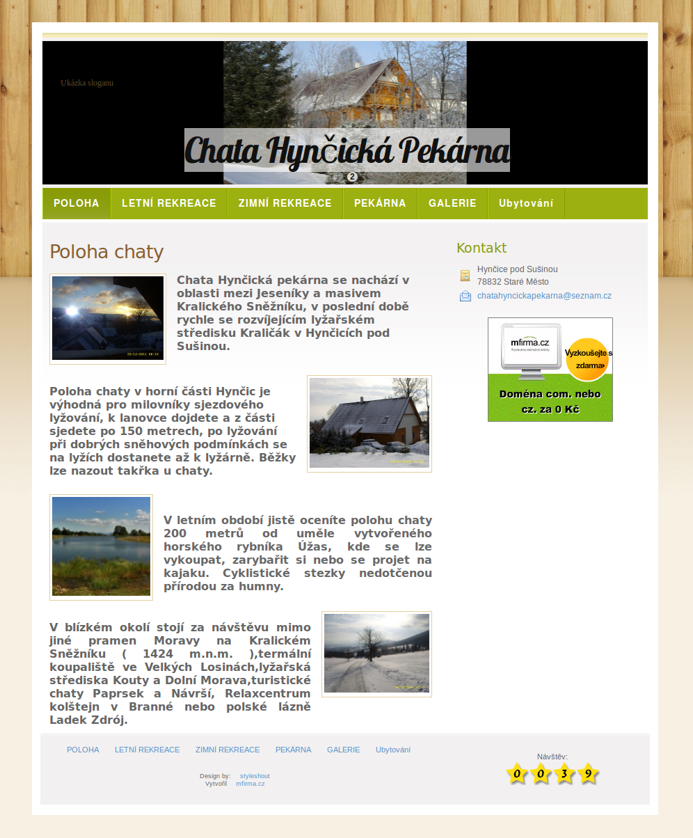 Příklad webové stránky pro ubytování - Chata Hynčická Pekárna
