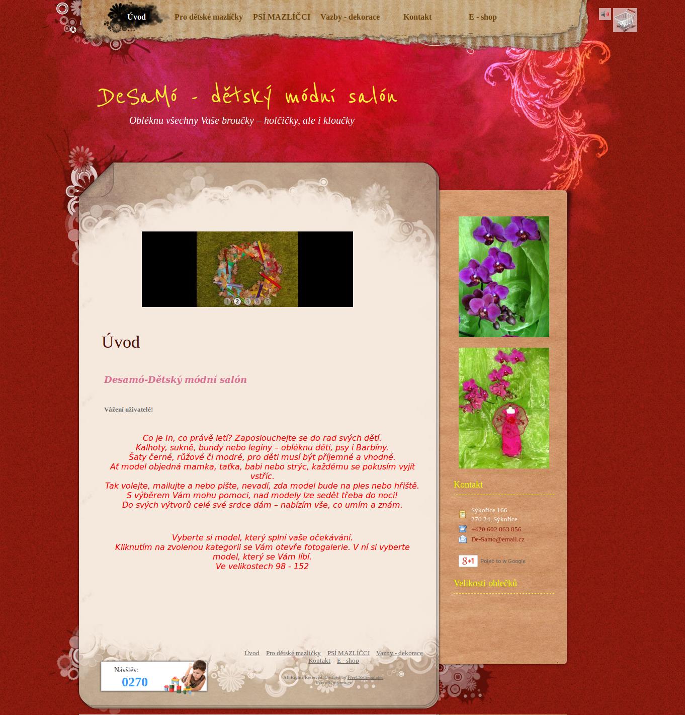 Příklad webové stránky - Desamo-Dětský módní salón