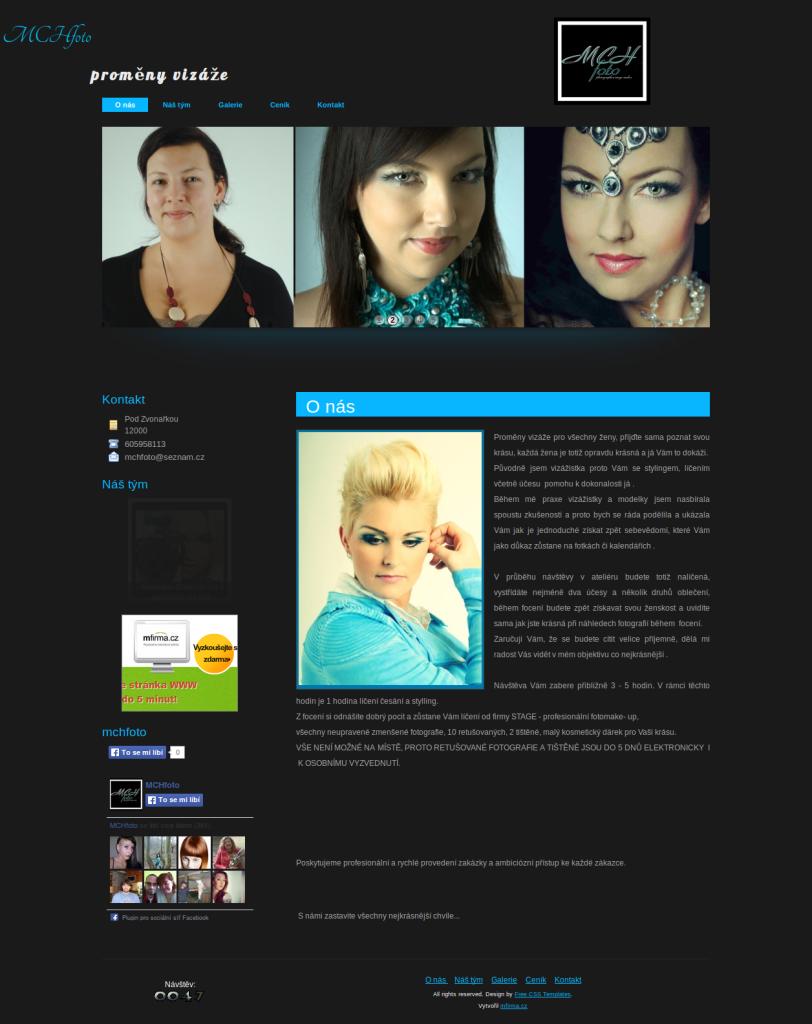 Příklad webové stránky pro proměny vizáže - MCHfoto