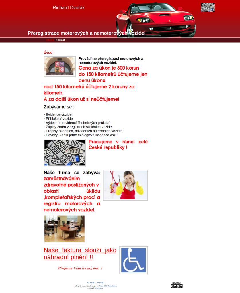 Ukázková webová stránka automobilové firmy - mojeautocb.cz