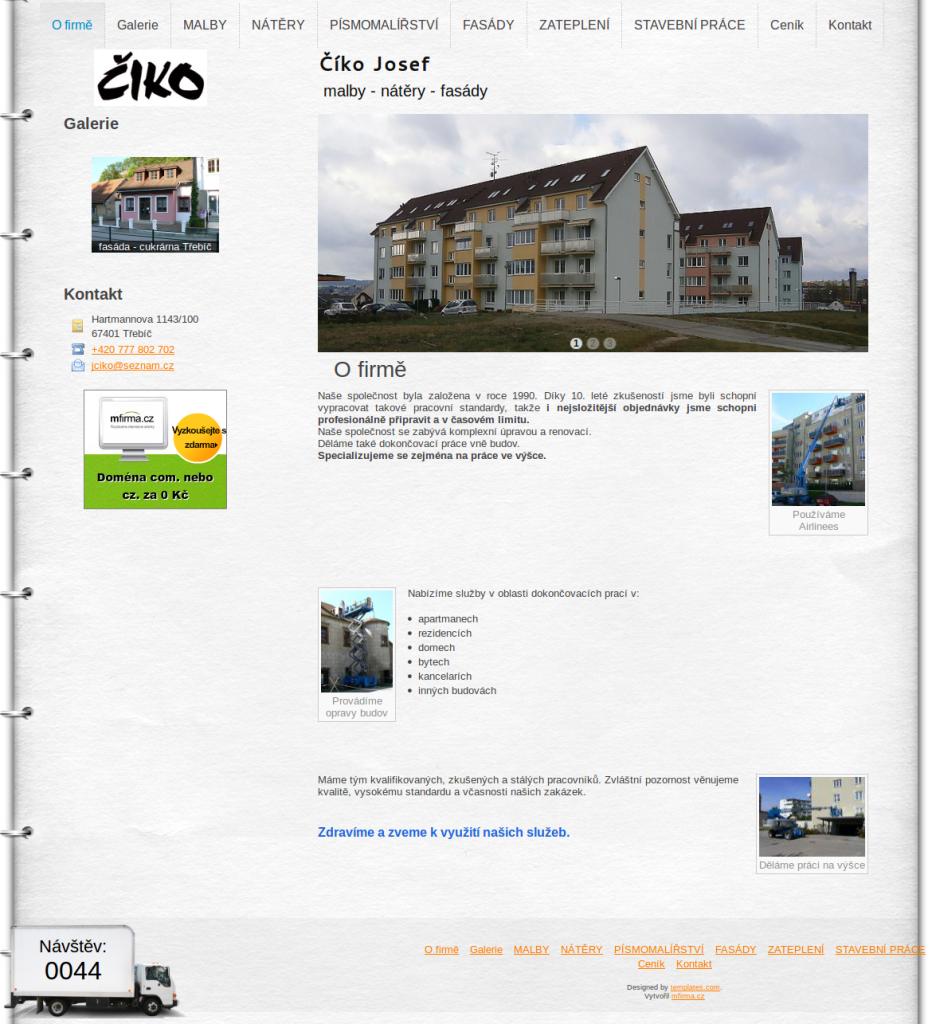 Ukázková webová stránka stavební firmy - Číko Josef