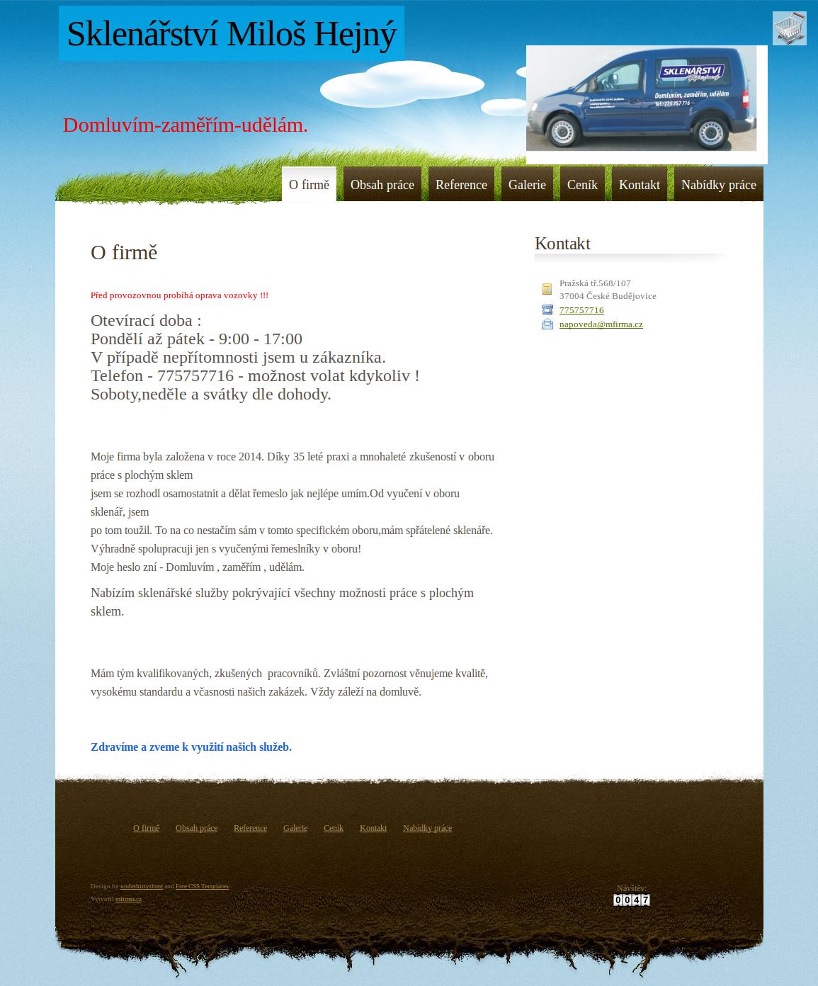 Ukázková webová stránka - Sklenářství Miloš Hejný