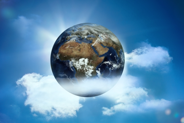 Digital,Digitally Generated,Computer Graphic,Illustration,Blue Sky,Clouds,Sun,Sunshine,Sunlight,Nature,Beautiful,Earth,Globe,Natural,Environment,Awareness,Environmentalism,Floating,Ecology,Climate,Global,Conceptual